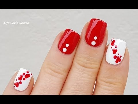 DOTTING TOOL NAIL ART #12 / Red & White Valentine's Day Heart Nails
