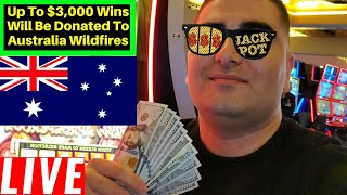 Up To $3,000 Wins Will Be Donated To Australian Wildfire ! Live Slot Play At HARRAH'S Casino