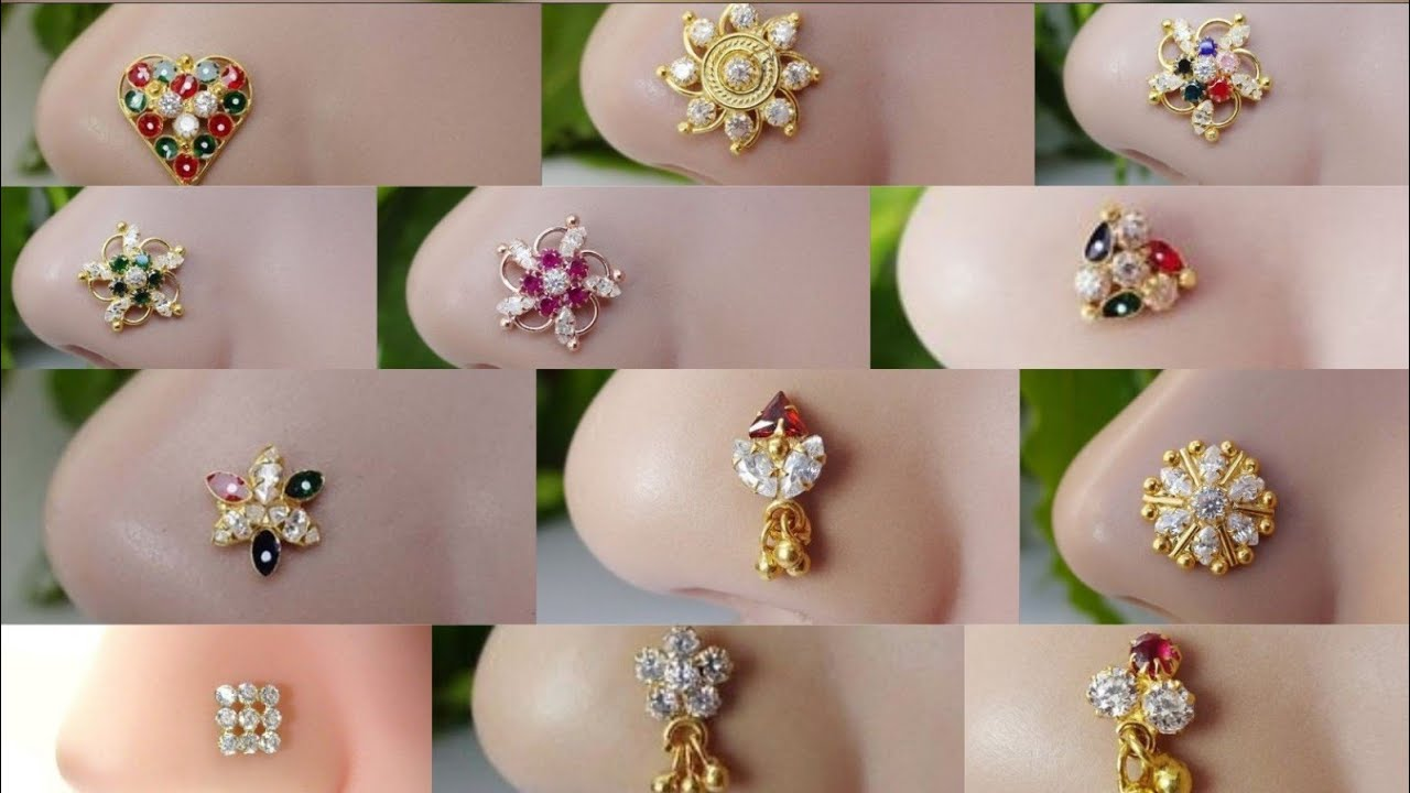 Latest Gold Nose Pin Designs Traditional Gold Nose Pin Stud