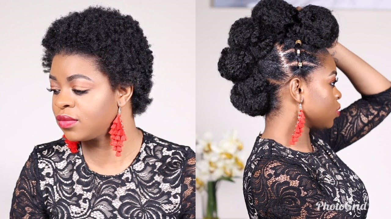 Edgy Faux Mohawk On Short Natural Hair L Protective Styles On 4c Youtube