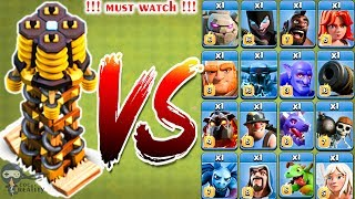 Max Tesla vs All Troops Battle - Clash of Clans | Hidden Tesla