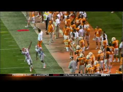 Tyler Bray plays catch with Coach Derek Dooley vs Florida
