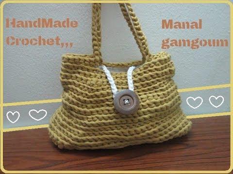 09d868a7b605e شنطة كروشيه بخيط الكليم- handbag crochet - YouTube