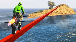 WORLDS LONGEST IMPOSSIBLE TIGHTROPE! (GTA 5 Funny Moments) thumbnail
