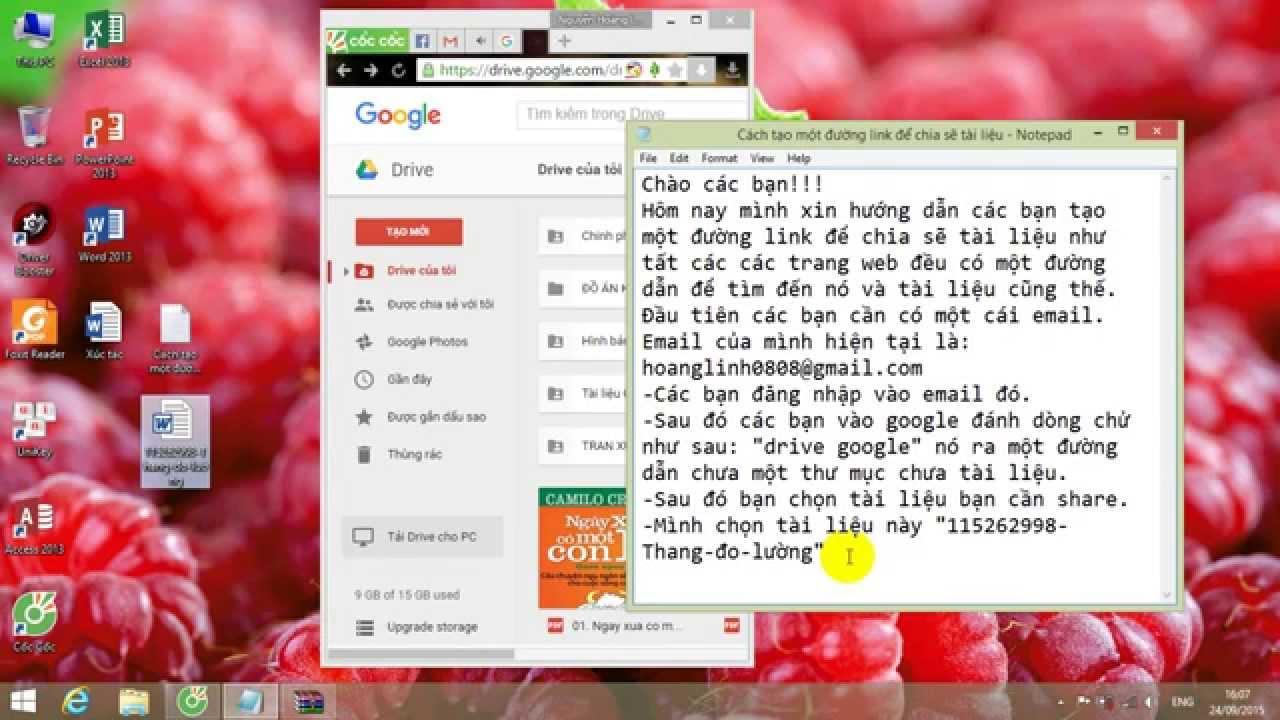Hướng dẫn tạo link bằng google drive.