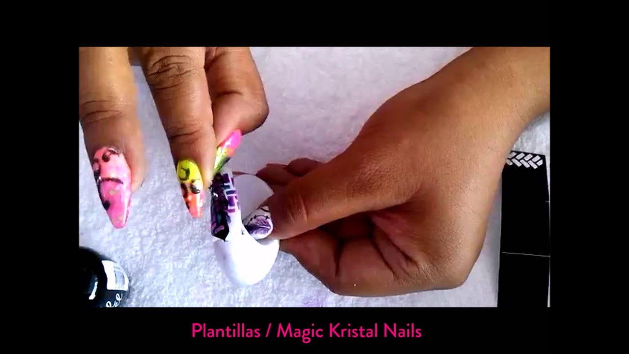 TUTORIAL 4/ Diseño con esmaltes OBD y plantillas Magic Kristal Nails ...