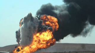 Fuel Truck hits IED. Explosion in Iraq War 2007.