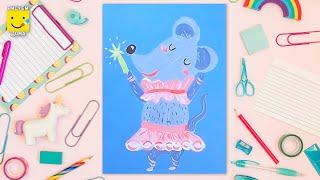 Мышка-балерина - урок рисования для детей от 4 лет, гуашь, как нарисовать, рисуем дома поэтапно