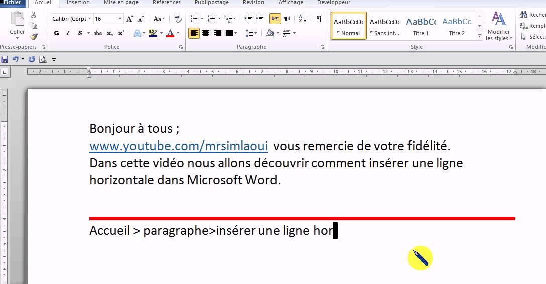 Word ins rer une ligne horizontale dans un document word youtube - Faire un camembert sur open office ...