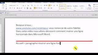 word insérer une ligne horizontale dans un document word.