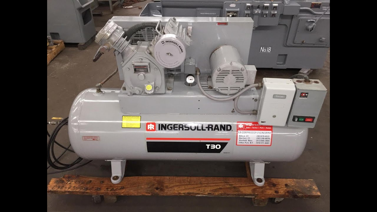1993 ingersoll rand air compressor 5 hp 30t model 242 5d sold  [ 1280 x 720 Pixel ]