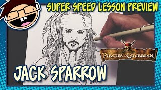 Lesson Preview: How to Draw JACK SPARROW (The Pirates of the Caribbean) | Super Speed Time Lapse Art