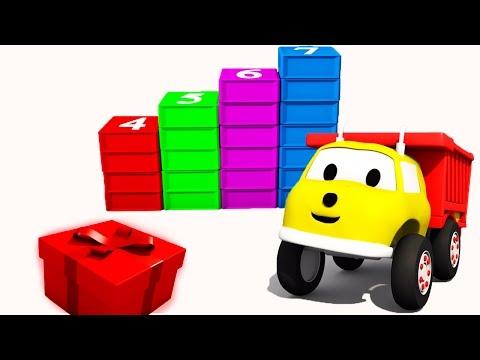 Construyendo escaleras con cubos : aprender números con Ethan el Camión Volquete | Dibujos Animados