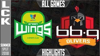 JAG vs BBQ HIGHLIGHTS ALL GAMES | LCK Summer 2018 Week 5 Day 2 | Jin Air Greenwings vs BBQ Olivers