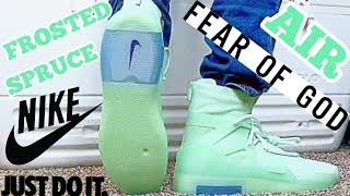 NIKE AIR FEAR OF GOD 1 FROSTED SPURCE UNBOXING ON FEET REVIEW