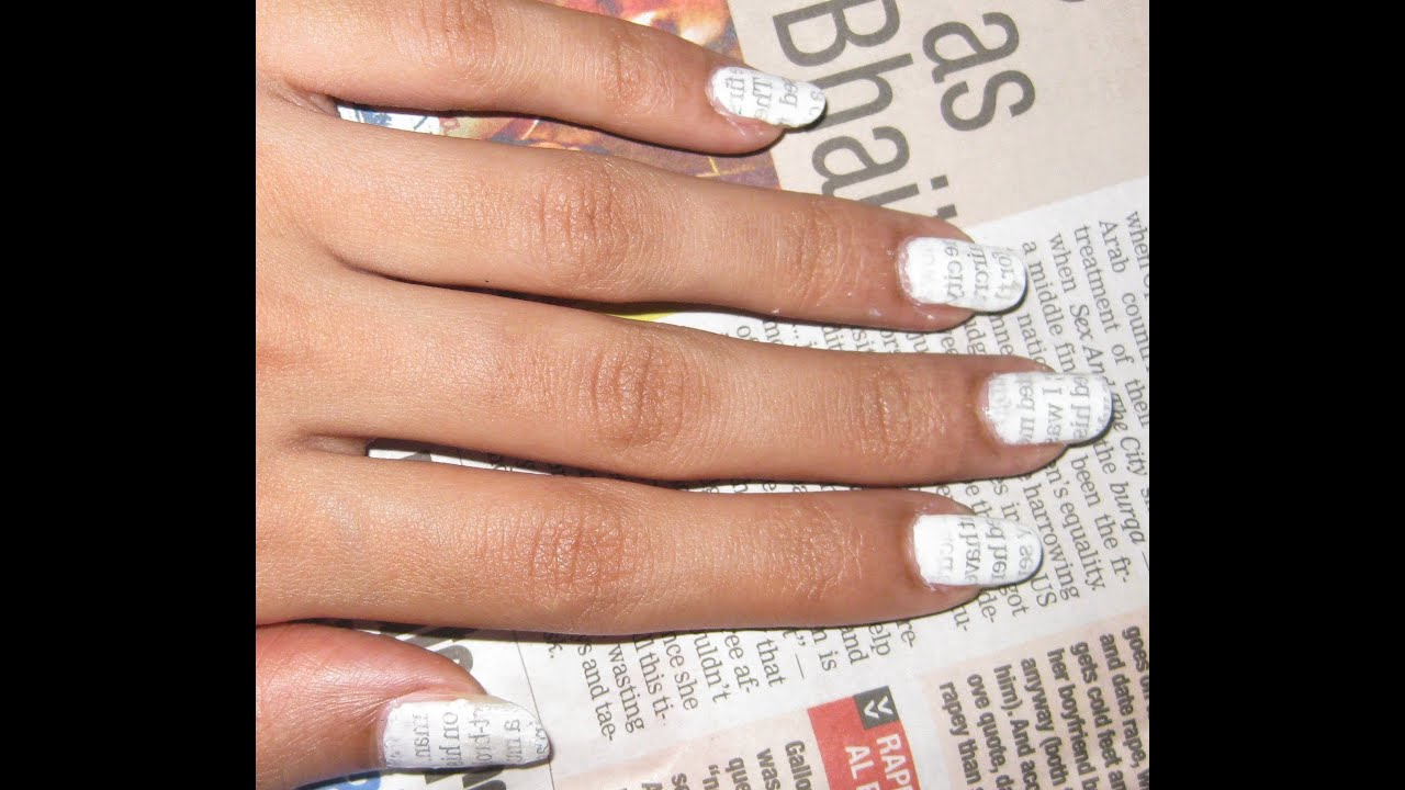 Newspaper print nail art using water youtube prinsesfo Image collections