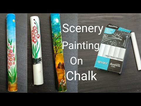 Step By Step Landscape Painting For Beginners on Chalk Piece | How to draw Simple Scenery For Kids