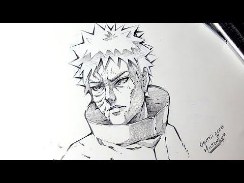 Sketching Obito Uchiha From Naruto Anime - Custom Fan-art