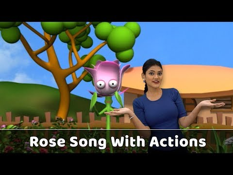 Rose Flower Song With Actions | Flower Rhymes For Babies | Learn Flowers For Kids | Toddlers Songs