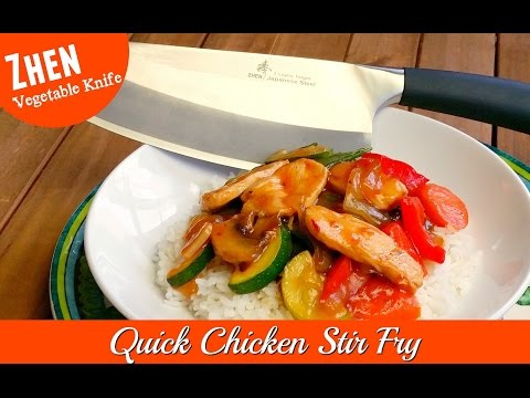 Quick Chicken Stir Fry ~ Zhen Vegetable Knife VG-10 Japanese Stainless Steel ~ Amy Learns to Cook