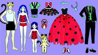 Paper Dolls Family Dress Up - Party Ladybug \u0026 Cat Noir Costumes Handmade - Barbie Story \u0026 Crafts