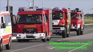 Einsatzfahrt FFW Wesselburen ELW, LF 8/6, TLF2000 (Unimog) LF 8, LF 16 TS. Eidersperrwerk