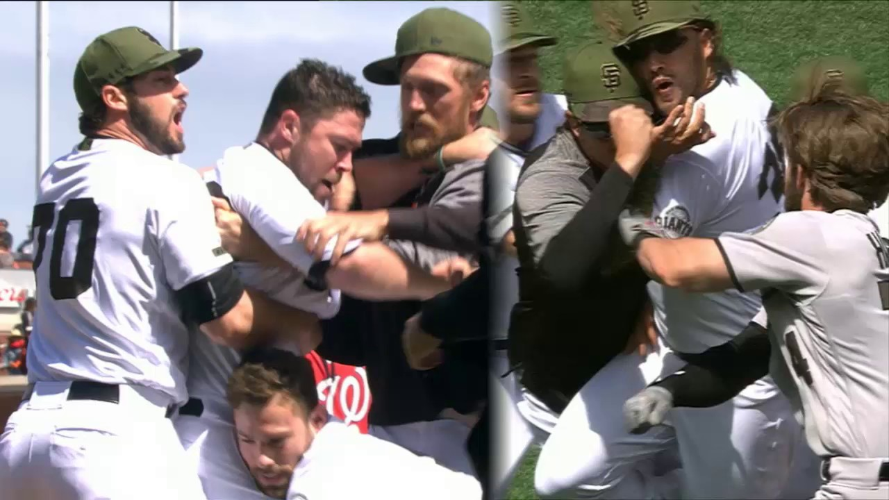 WATCH: Bryce Harper plunking sparks crazy baseball brawl between Nats and Giants