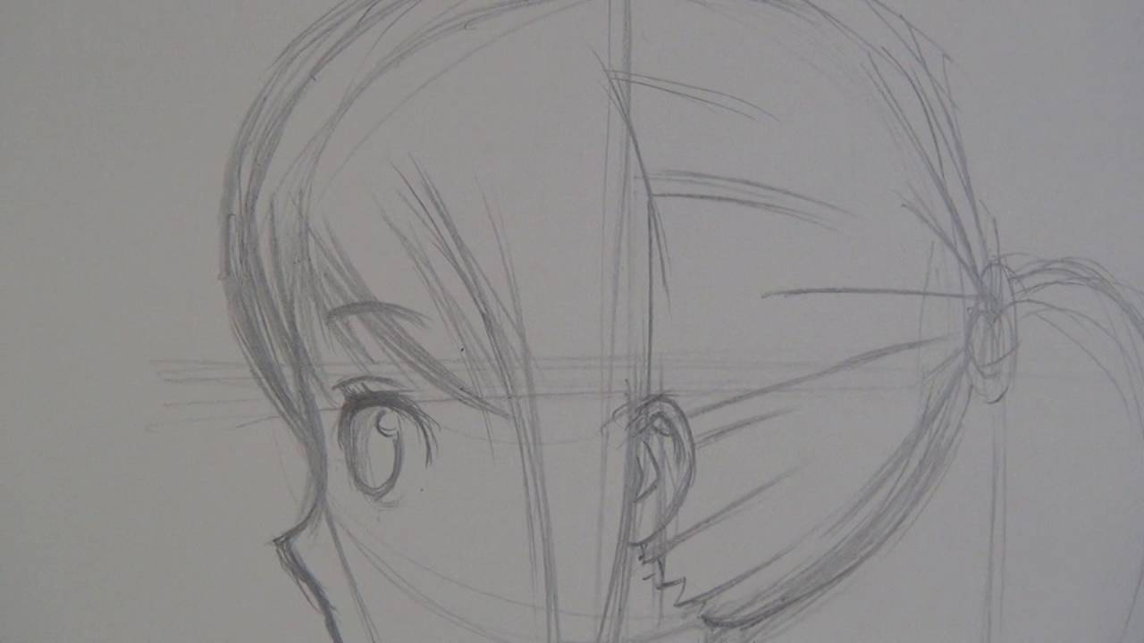 draw anime girl side view