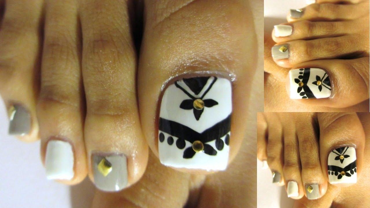 Uñas Decoradas De Los Pies Blanco Negro Ideas Decorations For Toe