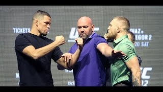 UFC 202: Diaz vs. McGregor 2 Kickoff Press Conference (Full Video)(Check out Nate Diaz and Conor McGregor as they field questions from the media at the Thursday, July 7, UFC 202: Diaz vs. McGregor 2 Kickoff Press ..., 2016-07-07T23:39:44.000Z)