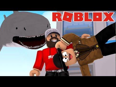 SHARK ATTACK! Roblox Shark Bite fun with Mitch & Callum