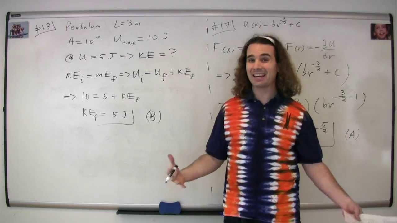 #18 Mechanics Multiple Choice Solutions - AP Physics C 1998 Released Exam