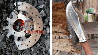 Broken Disc Brake Forged Into A Beautiful Useful Knife/Full action by blacksmiths