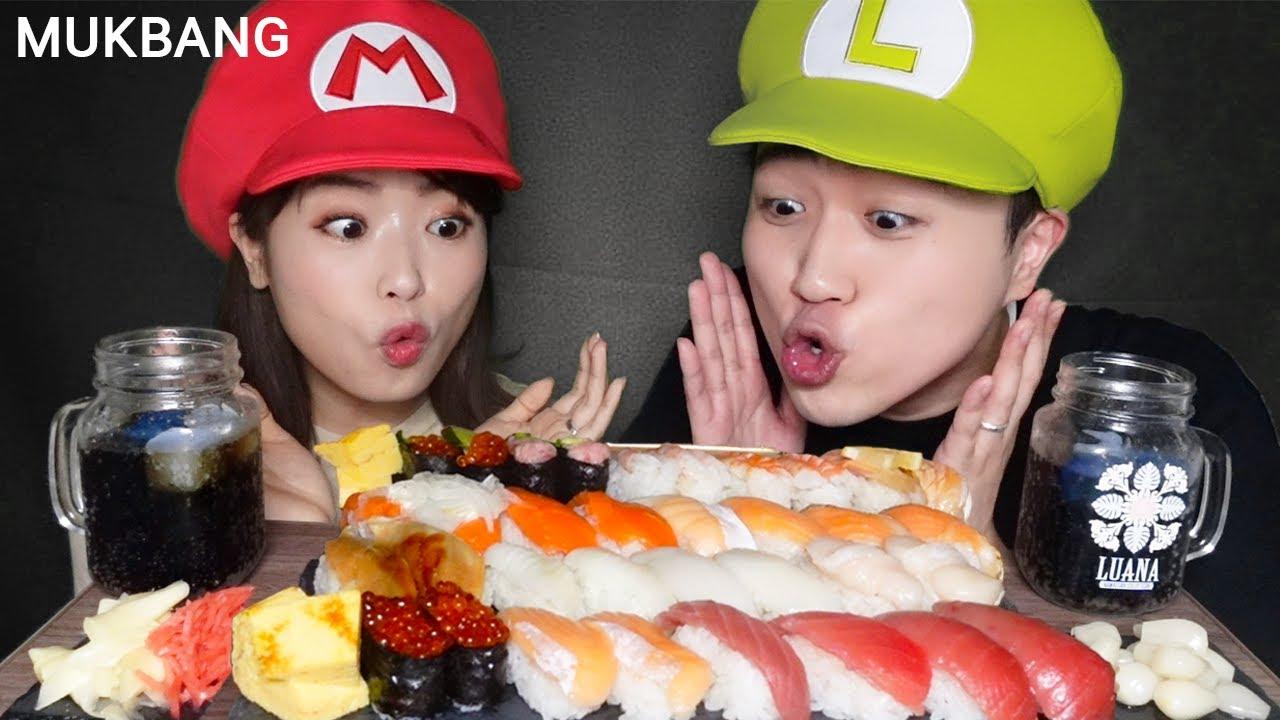 SUB)ASMR MUKBANG 눈 뒤집어지는 알록달록 모듬초밥 먹방🍣연어 참치 광어 가리비 계란 등등 Sushi Mukbang ASMR