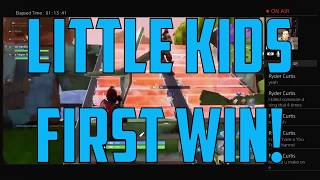 GETTING LITTLE KIDS FIRST WIN - FORTNITE!