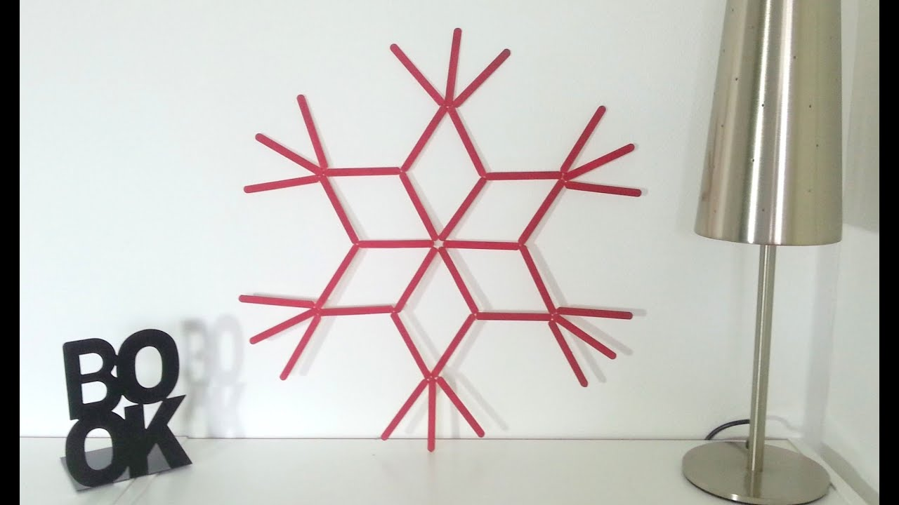 Diy d co noel grande toile murale avec b tons de glace youtube - Grande decoration murale ...