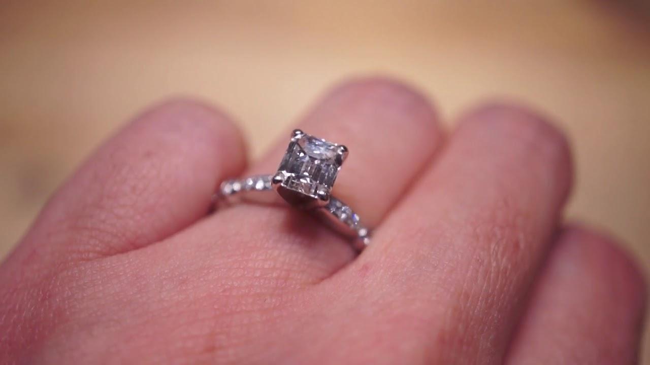 Engagement Ring Modern 1.03 GIA Emerald Cut Diamond in 18k White ...