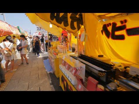 【4K】Videowalk through festival food stalls