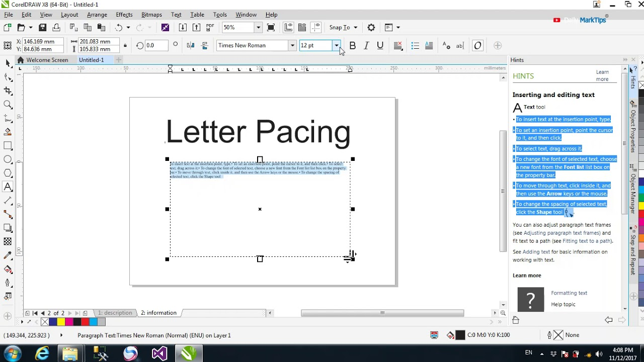 How To Use Letter Spacing And Line Spacing In Coreldraw  Youtube