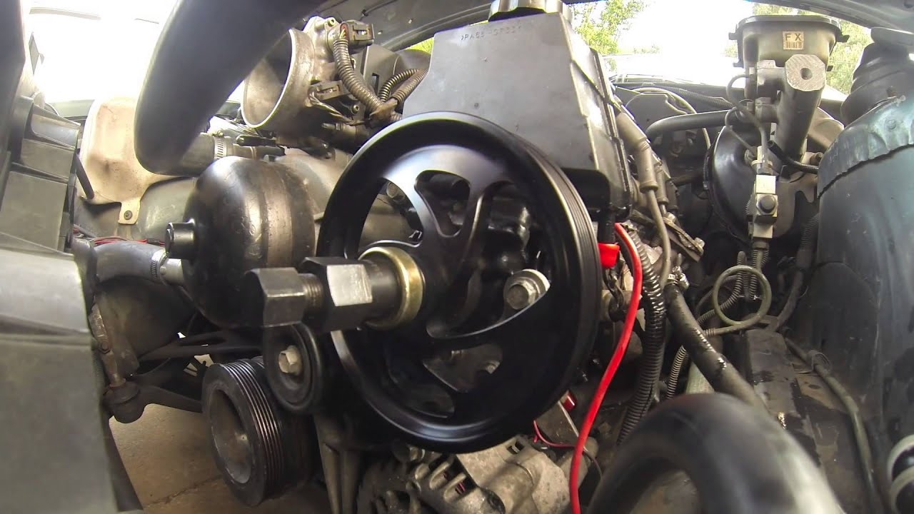 how to ls1 power steering pulley pump remove install 4 8 5 3 5 7 6 0 turn one inc youtube
