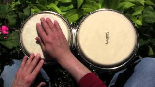 How to play a funky drumset groove on bongos--a lesson for beginners