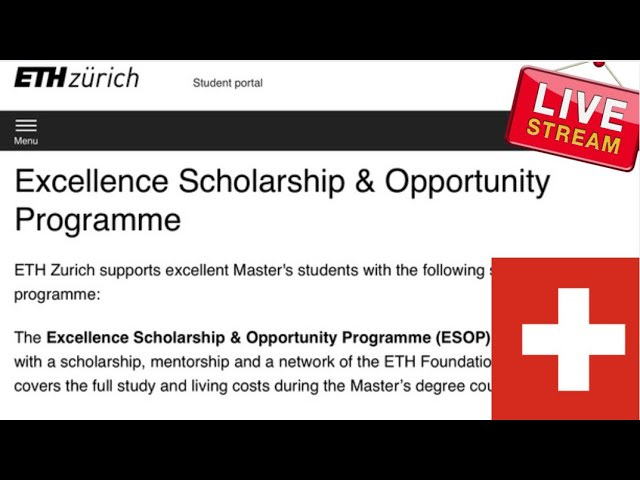 2022 ETH Zurich Excellence Masters Scholarships FOR  International students to Switzerland