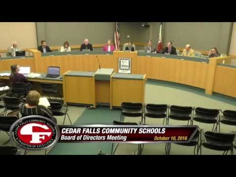 Cedar Falls Schools - Board of Education Meeting 10-10-16