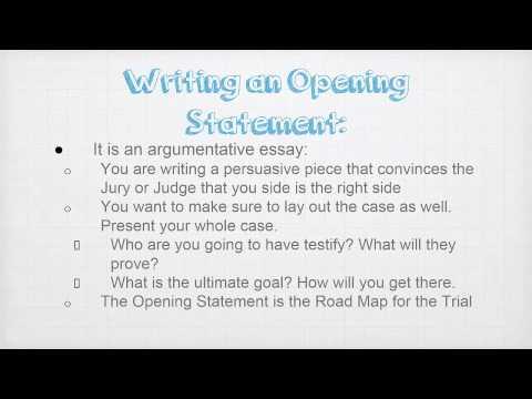 Writing An Opening Statement