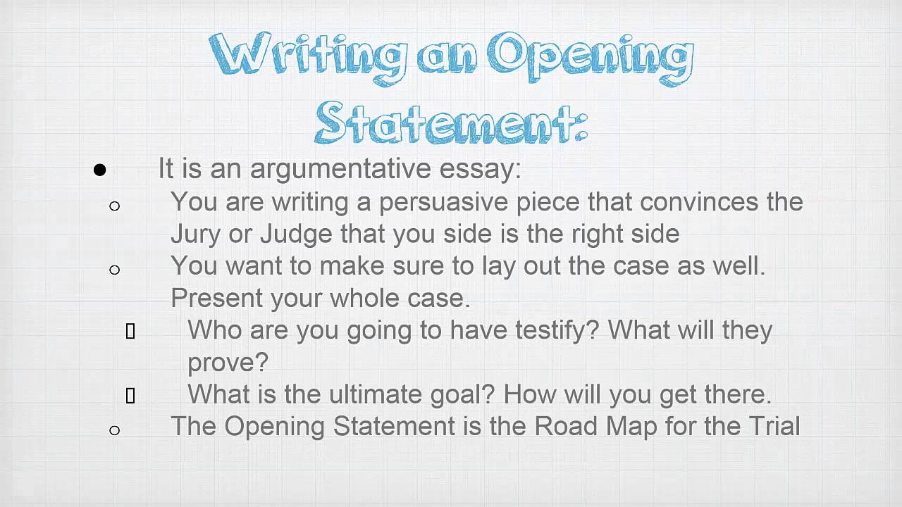 Writing an Opening Statement  YouTube