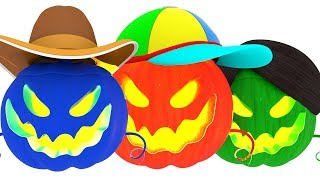 Learn Colors with Little Baby Painting Pumpkins #h Fun Cartoon for Children