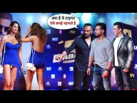 Disha Patani Impressive-Gorgeous Entry Along Tiger Shroff,Salman & Sunil On RC   Dabangg 3 Premiere