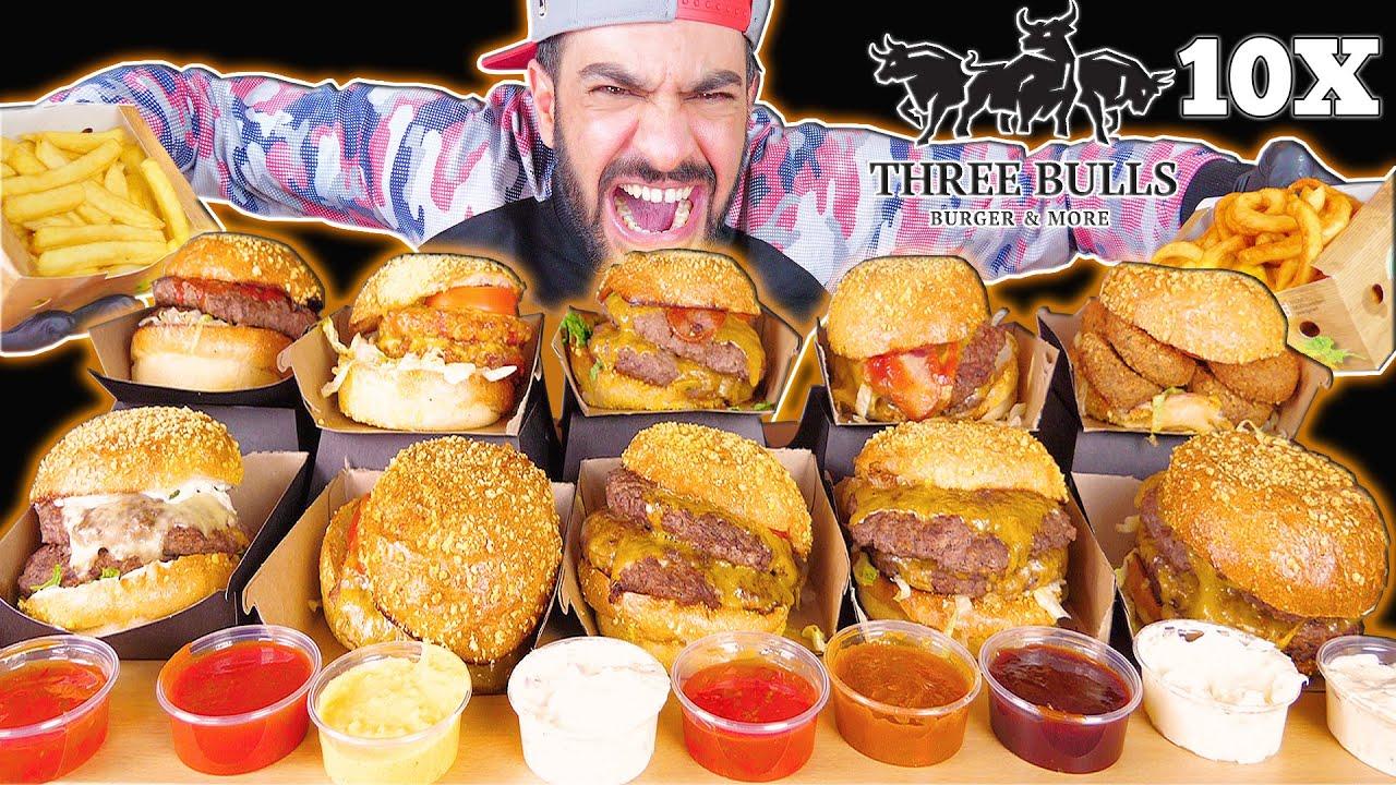 تحدي اكل المنيو الكامل من مطعم الثيران الثلاثة  ثري بولز + موكبانغ Three Bulls Full Menu Challenge