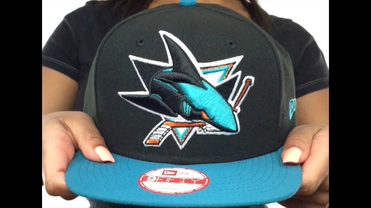 Sharks 'LOGO GRAND REDUX SNAPBACK' Black-Teal Hat by New Era