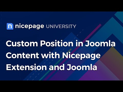 Custom Position In Joomla Content With Nicepage Extension And Joomla